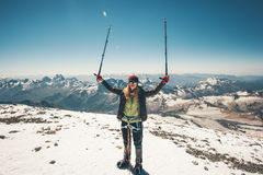 Woman climber reached Elbrus mountain summit. Travel Lifestyle success concept adventure active vacations outdoor mountaineering sport alpinism happy emotions Royalty Free Stock Photos