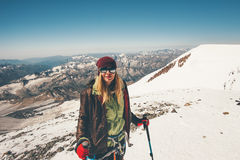 Woman climber traveling in mountains. Reached summit Travel Lifestyle success concept adventure active vacations outdoor happy emotions enjoying peaks landscape royalty free stock images