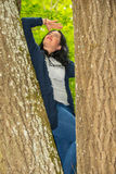 Woman climber in the tree looking up Stock Images