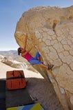 Woman Climbing Boulder Royalty Free Stock Photos