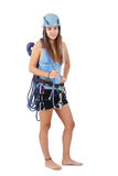 Woman in climbing equipment Royalty Free Stock Images