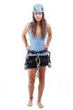 Woman in climbing equipment Stock Photos