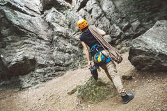 Woman with climbing equipment outdoor Stock Photos
