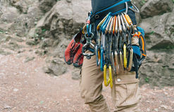 Woman with climbing equipment Royalty Free Stock Photography