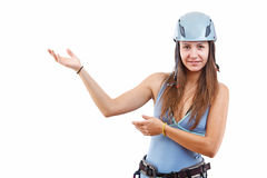 Woman in climbing helme Royalty Free Stock Image