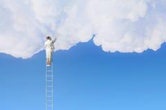 Woman climbing ladder    . Mixed media Stock Photos