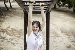 Woman climbing stairs Stock Images