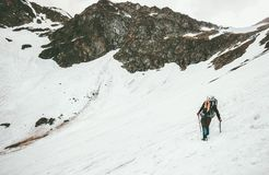 Free Woman Climbing With Ice Axe Mountaineering Travel Royalty Free Stock Photos - 109009948