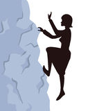Woman climbs on the rock to the mountain top. Reaching the goal concept, vector illustration. Stock Photography