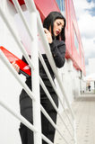 Woman climbs the stairs Royalty Free Stock Images