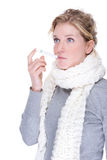 Woman with clinical thermometer. Full isolated portrait of a beautiful caucasian woman with clinical thermometer Royalty Free Stock Photography