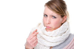 Woman with clinical thermometer Royalty Free Stock Photo