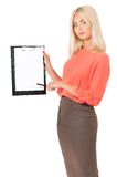 Woman with clipboard Royalty Free Stock Image
