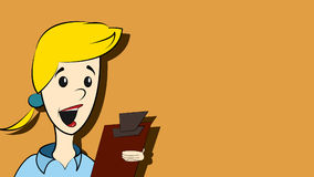 Woman with clipboard. An illustration of a woman with a clipboard in classic cartoon style Stock Photos