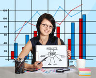 Woman and clipboard with seo Stock Photography