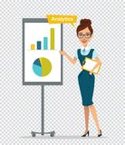 Woman with clipboard standing near flipchart.Concept. Analitics.Woman showing diagram and histogram.Business illustration on transparent background Stock Photos