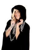 Woman cloak chain look side Stock Photo