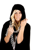 Woman cloak chain looking Royalty Free Stock Image