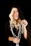 Woman cloak chain scared Royalty Free Stock Image