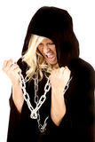 Woman cloak chain screaming Royalty Free Stock Image