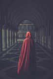 Woman in cloak outdoor Stock Image