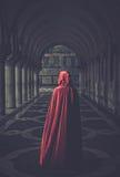 Woman in cloak outdoor. Woman in red cloak walking away stock image