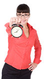 Woman with clock. Young adult woman with clock. over white background stock photography