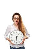 Woman with clock Stock Photos