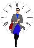 Woman and clock Royalty Free Stock Images