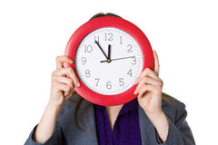 Woman with clock Stock Photo