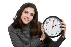 Woman with clock Royalty Free Stock Photo