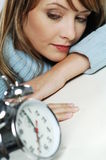 Woman with clock Royalty Free Stock Image