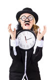 Woman with clock behind schedule Royalty Free Stock Photography