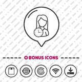 Woman with Clock Icon thin line Bonus Icons. Eps10 Vector. vector illustration