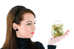 Woman with clock isolated Royalty Free Stock Image