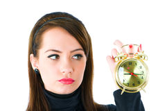 Woman with clock isolated Stock Photos