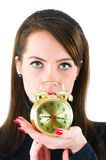 Woman with clock isolated Stock Images
