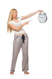 Woman with clock on white Royalty Free Stock Photo