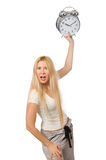 Woman with clock on white Royalty Free Stock Photos