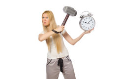 Woman with clock on white Royalty Free Stock Photography