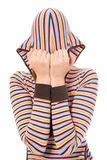 Woman close hood face Stock Photos