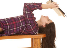 Woman close lay on back reading Royalty Free Stock Photo