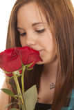 Woman close smell rose Royalty Free Stock Photography