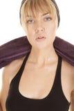 Woman close sweat black halter top Royalty Free Stock Image