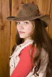 Woman close up with brown hat Royalty Free Stock Photos