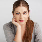 Woman close up face portrait. Royalty Free Stock Images