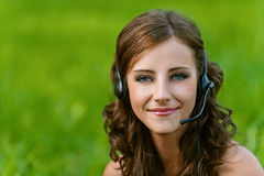 Woman close up in headphones Stock Photography