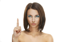 Woman close-up index finger raised Royalty Free Stock Photo