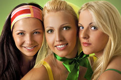 Woman close-up portrait. Three young woman close-up portrait Royalty Free Stock Images