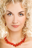 Woman close-up portrait. Beautiful young woman close-up portrait Stock Image